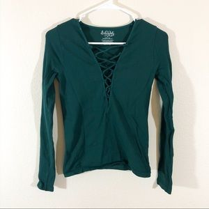 Intimately free people green deep v criss cross